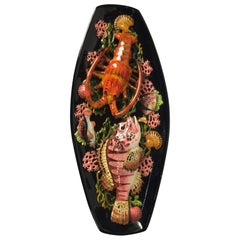 Oversize Oval Majolica Palissy Fish and Lobster Platter Vallauris, circa 1950