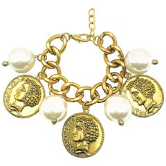 Oversize Pearl & Gold Coin Charm Bracelet 2000s