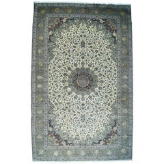 Oversize Persian Kashan Silk Flowers Sheikh Safi Design Rug