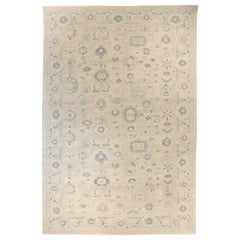 Oversize Persian Sultanabad Rug with Gray and Navy Botanical Details