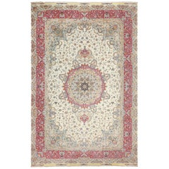 Oversize Silk and Wool Vintage Persian Tabriz Rug. Size: 13 ft x 20 ft