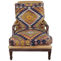Oversize Southwestern Marquis Armchair Fauteuil Louis XV Style Lounge Rug Kilim