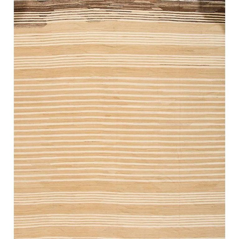 Oversize Square Contemporary Beige Striped Afghani Kilim Rug