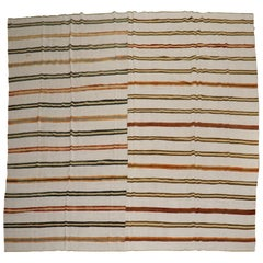 Oversize Square Striped Turkish Kilim