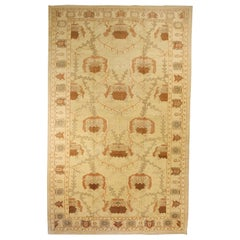 Oversize Turkish Donegal Rug with Brown and Ivory Botanical Details