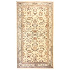 Oversize Turkish Rug in Sultanabad Style with Gray and Brown Floral Details