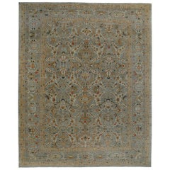 Oversize Turkish Rug Sultanabad Design with Navy and Red Botanical Details