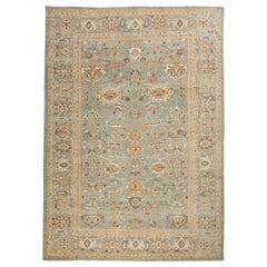 Oversize Turkish Sultanabad Style Rug with Blue Gray Floral Field