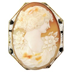 Oversize Vintage Carved Cameo Brooch / Pendant 14 Karat Yellow Gold