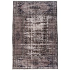 Oversize Vintage Distressed Gray Overdyed Rug, 11.05x17.04