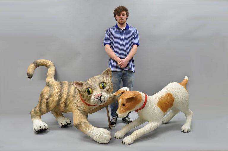 Oversize Vintage Fiberglass Cat Kitten Mannequin Retail Advertising Display For Sale 3