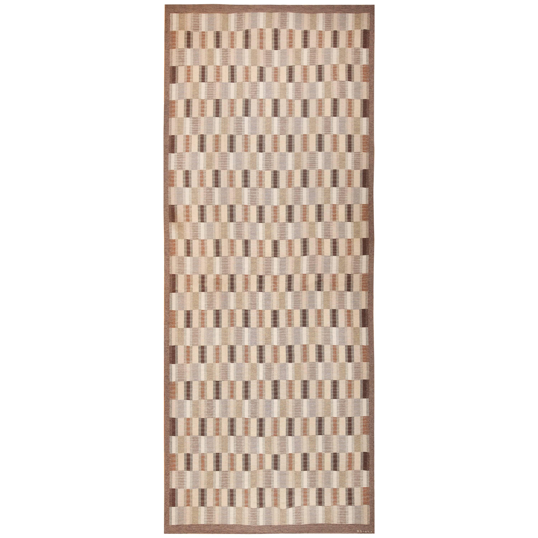 """Oversize Vintage Scandinavian Kilim Rug by Brita Grahn. Size: 11' 8"""" x 28' 10"""""""