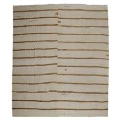 Oversize White Brown Striped Turkish Kilim