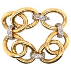 Oversized 18 Karat Yellow Gold Link Diamond Bracelet 66.6 Grams
