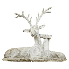 Oversized 1920s English Carved Stone Kissing Deer Group with Great Patina