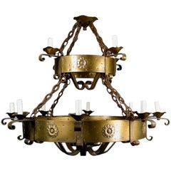Oversized 1930s Two-Level 12-Light Chandelier