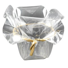 Oversized 1970s Crystal Clear Lucite Planter or Vase with Gilt Bow