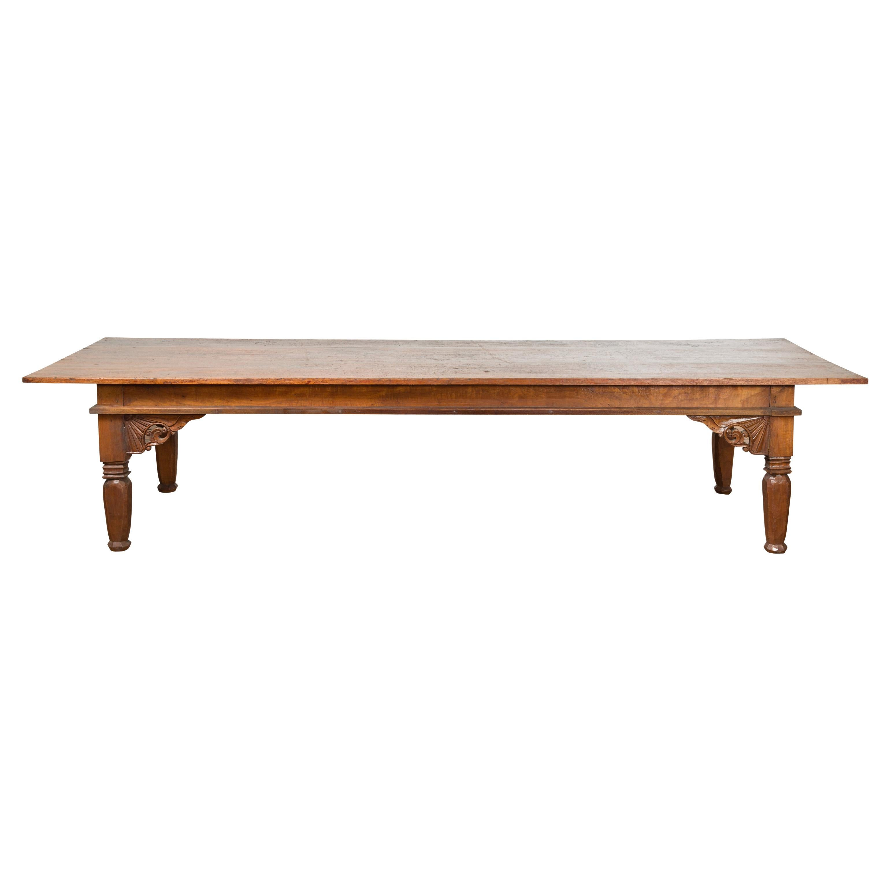 Oversized 19th Century Indonesian Madurese Coffee Table with Carved Spandrels