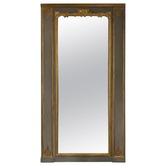 Oversized Trumeau Carved Wood Mirror