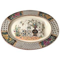 Oversized Aesthetic Period Copland Ironstone Chrysanthemum Pattern Meat Platter