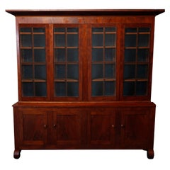 Oversized Antique American Empire Flame Mahogany Breakfront Cabinet, circa 1840