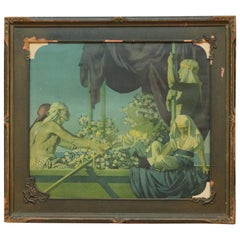 Oversized Antique Art Deco Maxfield Parrish Cleopatra Print, Framed, circa 1920