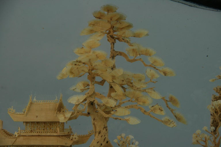Hardwood Oversized Antique Chinese Cork Diorama For Sale