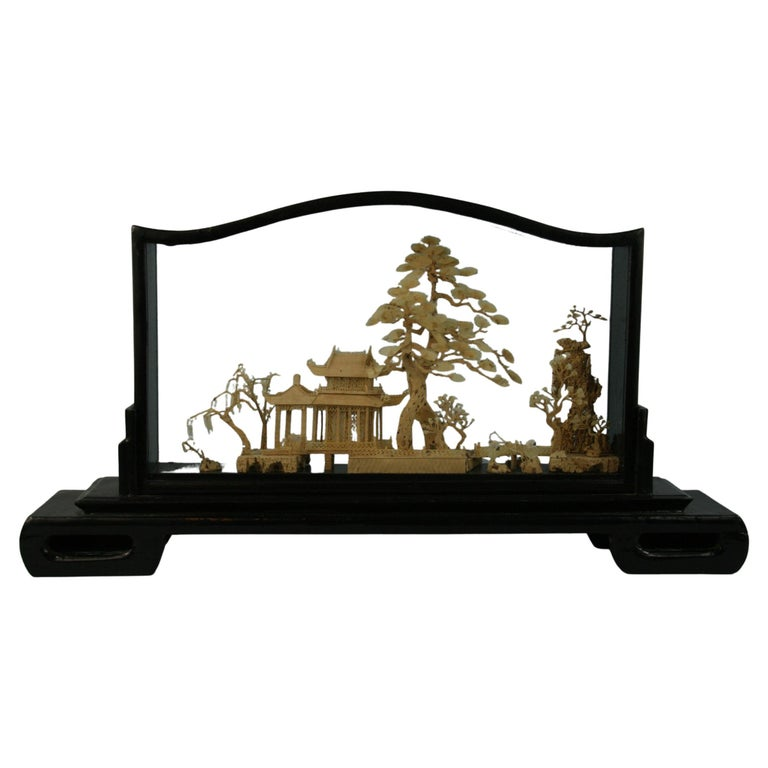 Oversized Antique Chinese Cork Diorama For Sale