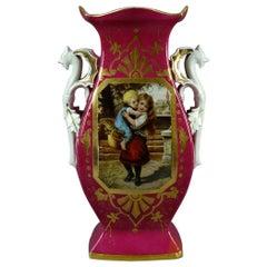 Oversized Antique French Figural Porcelain Pictorial Old Paris Vase, circa 1870