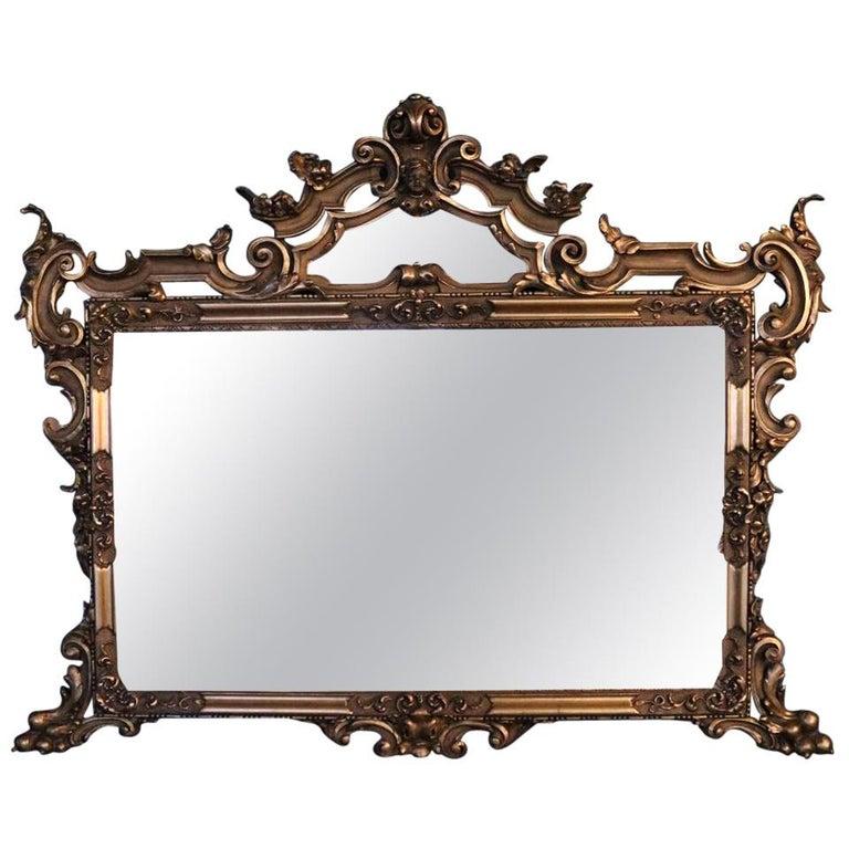 Oversized Antique French Gilt Overmantel Pediment Mirror, circa 1890 For Sale