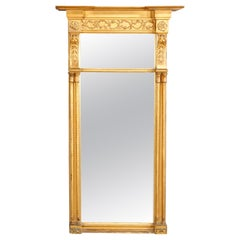 Oversized Antique French Louis XVI Gold Giltwood Trumeau Wall Mirror, circa 1890