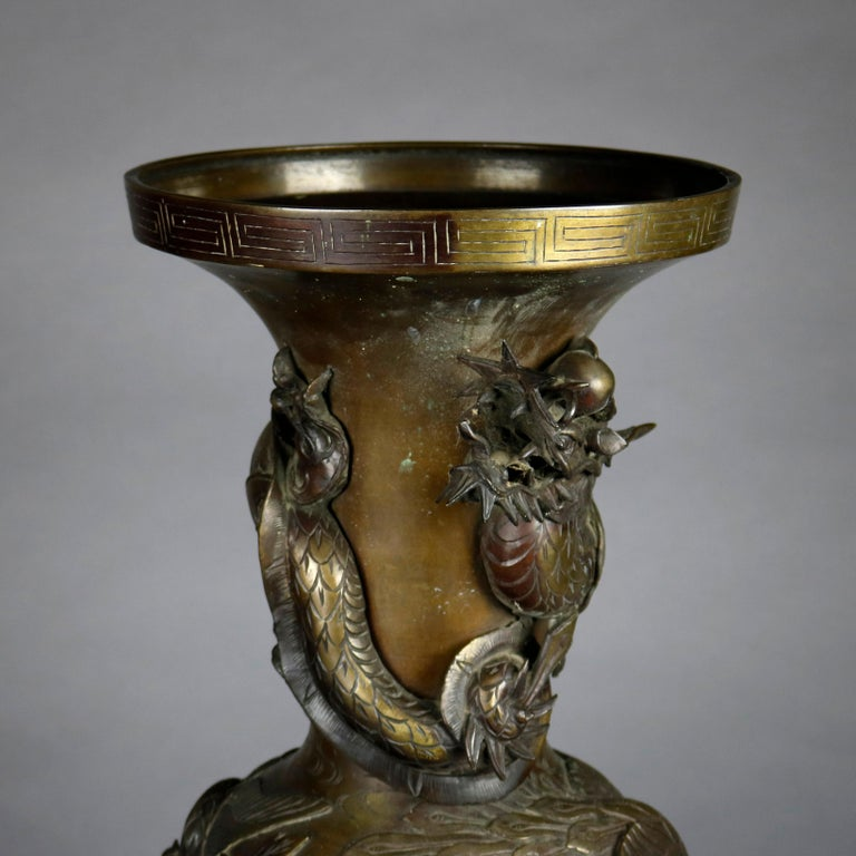20th Century Oversized Antique High Relief Figural Umbrella Stand with Garden Scene For Sale