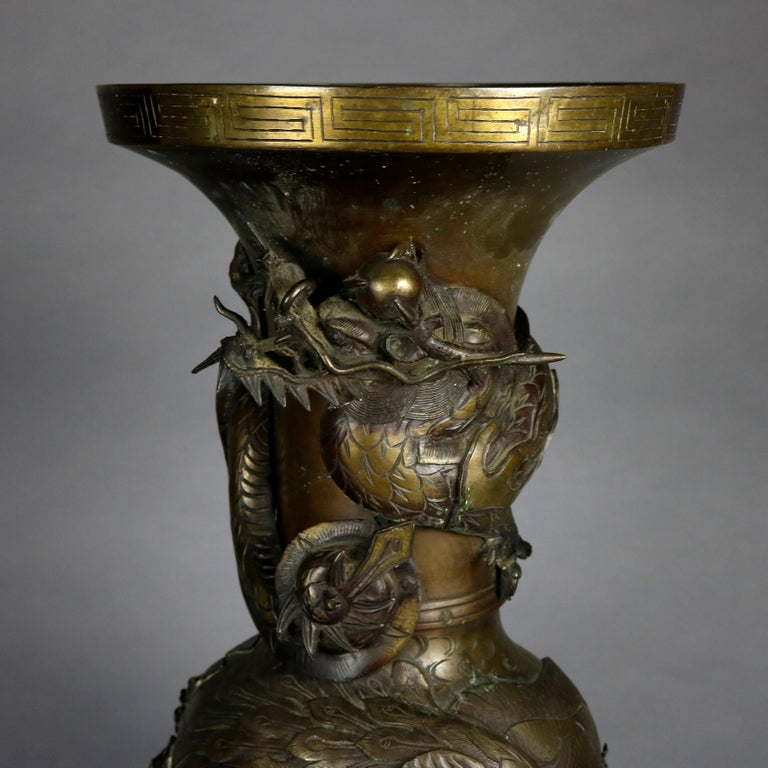 Bronze Oversized Antique High Relief Figural Umbrella Stand with Garden Scene For Sale