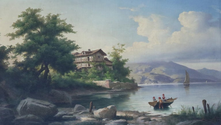 A very fine antique oversized oil on canvas landscape painting depicts lake scene with structure, sailing vessel and boat with figures, seated in ornate giltwood frame, signed lower right as photographed, circa 1850  Additional
