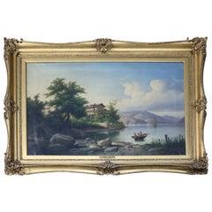 Oversized Antique Italian Guiseppe Camino Oil on Canvas Lake Scene, circa 1850