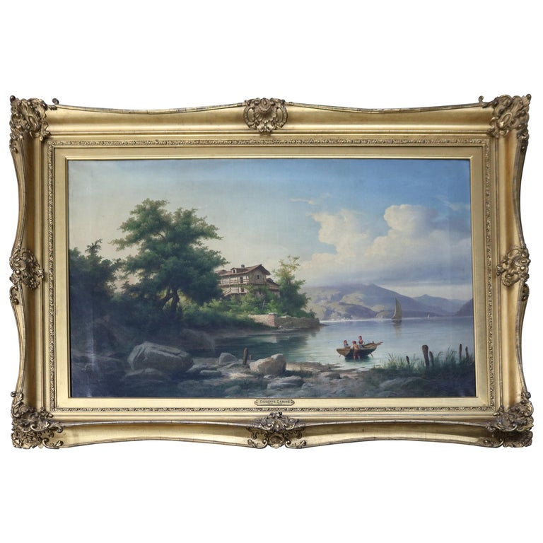 Oversized Antique Italian Guiseppe Camino Oil on Canvas Lake Scene, circa 1850 For Sale
