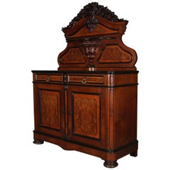 Oversized Antique Neoclassical Carved and Ebonized Walnut and Burl Sideboard