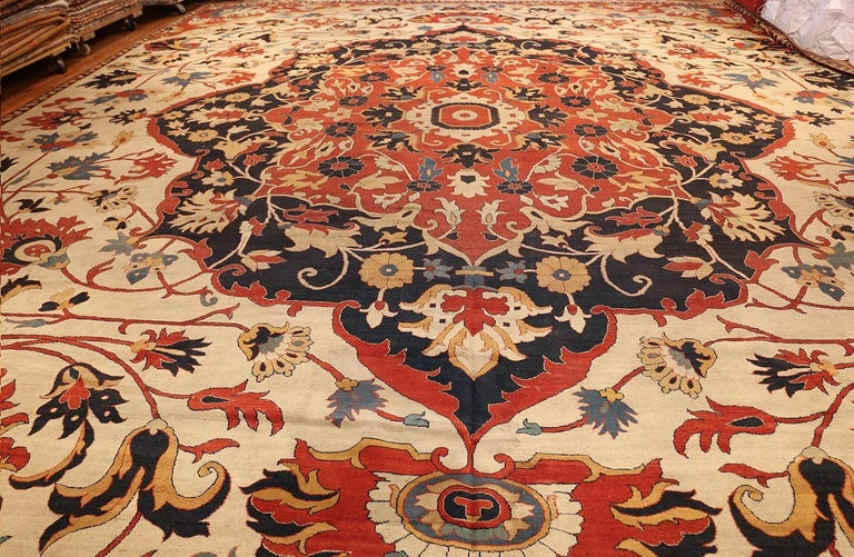 Hand-Knotted Oversized Antique Persian Sarouk Farahan Carpet. Size: 19 ft 3 in x 23 ft 3 in For Sale