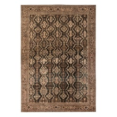 Oversized Antique Persian Sultanabad Brown Handmade Wool Rug
