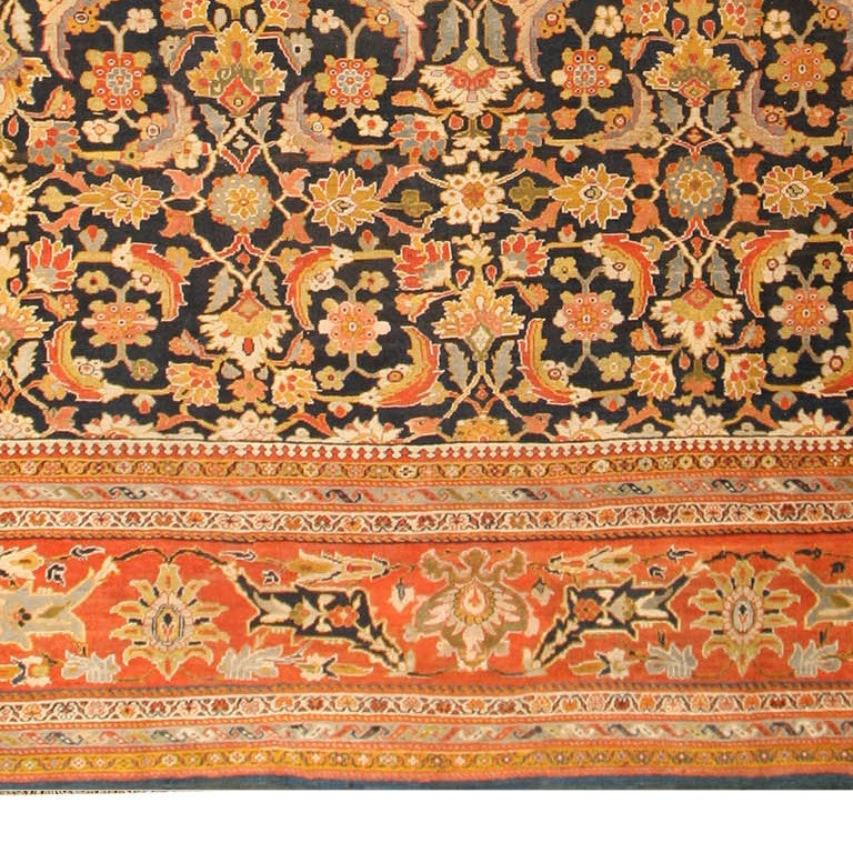 Beautiful Oversized Antique Persian Ziegler Sultanabad Rug, Vountry of Origin: Persia, Circa date: Late 19th Century. Size: 17 ft 8 in x 22 ft 3 in (5.38 m x 6.78 m)  The beautiful design coupled with this specific use of colors as well as the