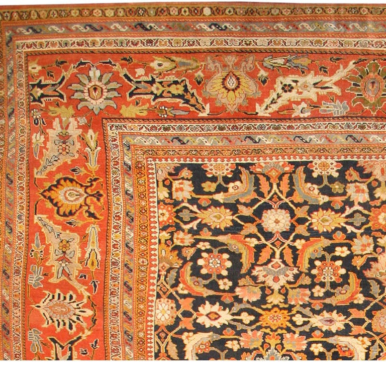 Oversized Antique Persian Ziegler Sultanabad Rug. Size: 17 ft 8 in x 22 ft 3 in In Good Condition For Sale In New York, NY