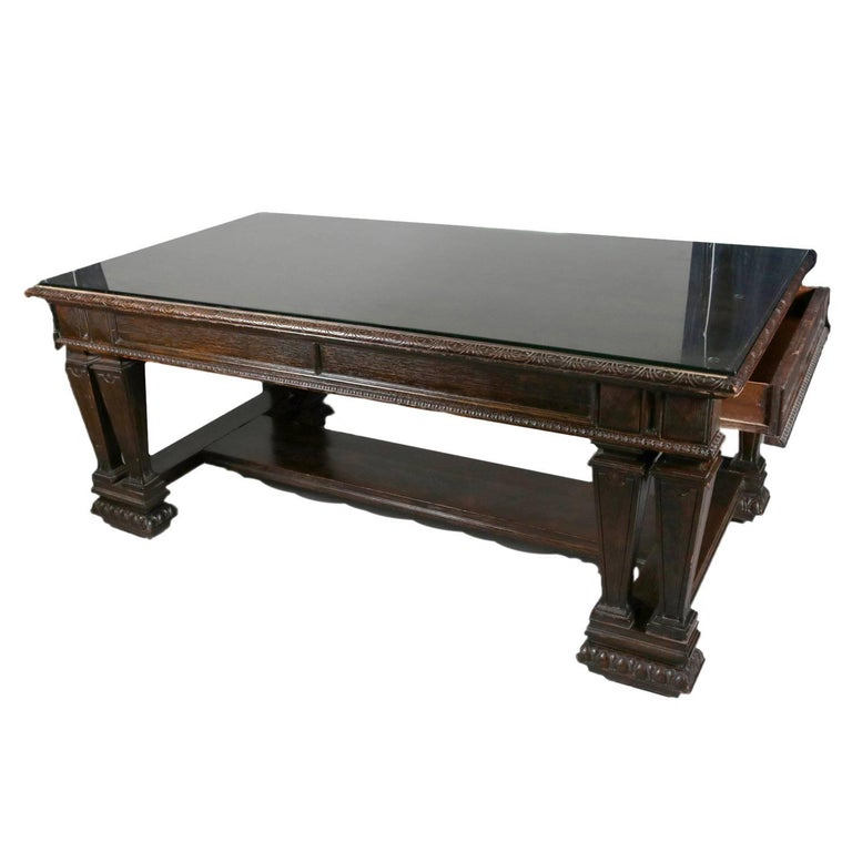 Oversized Antique Renaissance Revival Carved Oak Two-Drawer Library Table
