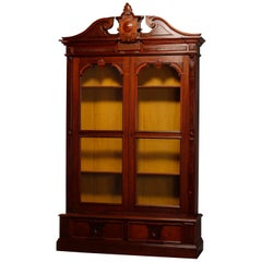 Oversized Antique Renaissance Revival Carved Walnut & Burl Bookcase, circa 1880