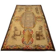 "Oversized Antique Spanish Beige Wool Signed Carpet ""RENAULT"", 1930"