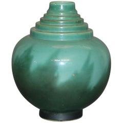 Art Deco Roseville Pottery Futura Black Flame Vase, 391-10, 20th Century
