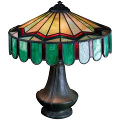 Oversized Arts & Crafts Bradley & Hubbard Leaded Slag Glass Table Lamp