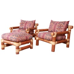 Oversized Bamboo Rattan Lounge Chairs and Ottoman