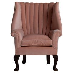 Oversized Barrel Back Armchair in 100% Cotton Velvet from Pierre Frey