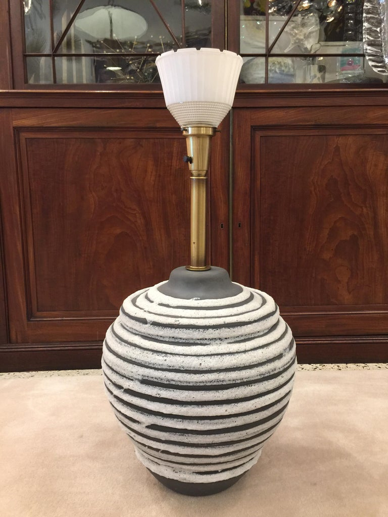 Mid-20th Century Oversized Beehive Style Pottery Lamp For Sale