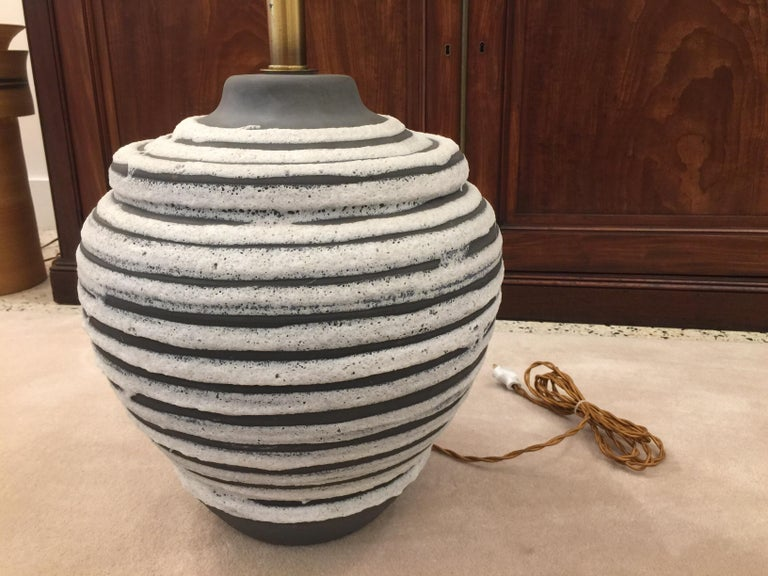 Brass Oversized Beehive Style Pottery Lamp For Sale